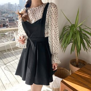 Envy Look - Set: Dotted See-Through Blouse + Flared Jumper Dress