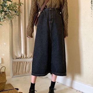 Fabricino - Washed Midi A-Line Denim Skirt