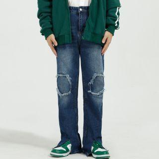 FAERIS - Patched Slit Straight-Cut Jeans