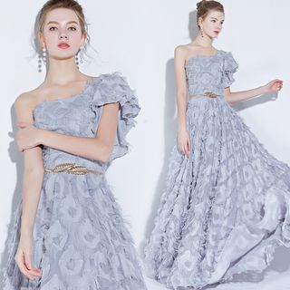 Sennyo - One Shoulder Frayed Evening Gown
