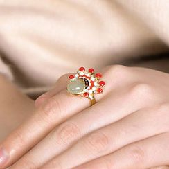 Andante - 925 Sterling Silver Gemstone Chinese Opera Ring