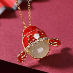 Andante - 925 Sterling Silver Gemstone Chinese Opera Pendant Necklace