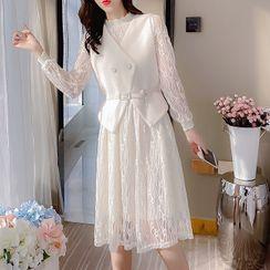 Antoinine - Set: Lace Long-Sleeve Shift Dress + Vest