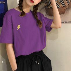 AQUI - 閃電刺繡短袖T裇