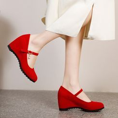 Megan(ミーガン) - Wedge-Heel Mary Jane Pumps