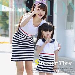 Igsoo - Family Short-Sleeve Stripe T-shirt Dress