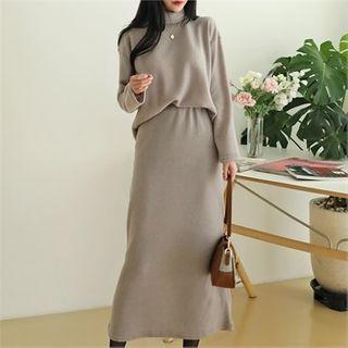 CHICLOOSE - Turtleneck Top & Maxi Skirt Loungewear Set
