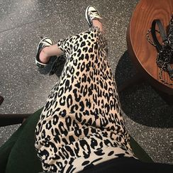 Lushii - Leopard Straight-Fit Knit Skirt / A-Line Skirt