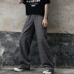 LINSI - 格子宽腿裤