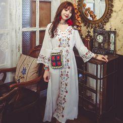 Ethelanc - Flower Embroidered Flared-Sleeve Midi Shift Dress