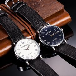 Cronos - Roman Numeral Leather Strap Watch