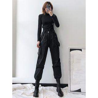 Shira - 高腰工装背带束脚裤