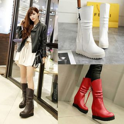 Shoes Galore - Hidden Wedge Mid-Calf Boots