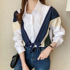 Vanci - Long-Sleeve Bow-Front Color Block Shirt