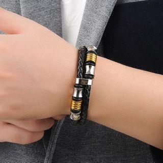 Tenri(テンリ) - Stainless Steel Woven Leather Bracelet