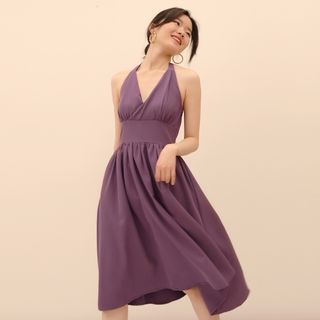 TANSSHOP - Halter-Neck A-Line Midi Dress