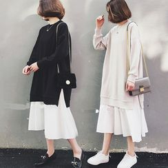 SEPH - Mock Two-Piece Long-Sleeve Midi Dress