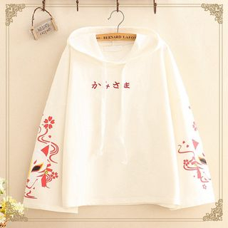 Kawaii Fairyland - Fox Print Embroidered Drawcord Hoodie