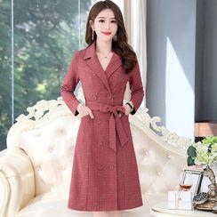 CHICHA - Long-Sleeve Double Breasted Coat Dress