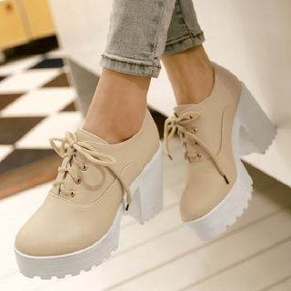 Freesia - 粗跟厚底繫帶及踝靴