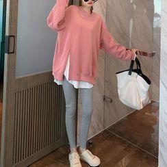 Lewwe - Set: Plain Sweatshirt + Long-Sleeve T-Shirt + Leggings