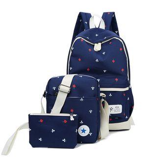 Golden Kelly - Set: Rose Canvas Backpack + Crossbody Bag + Pouch