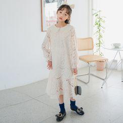 Cynanne - 小童蕾絲長袖直身連衣中裙