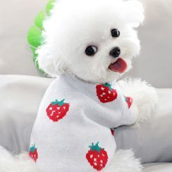 Bixin - Strawberry Print Knit Pet Top