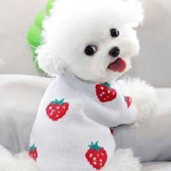 Bixin - 草莓印花针织宠物上衣