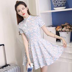 Raciheart - Short-Sleeve Mandarin Collar Floral Mini A-Line Dress