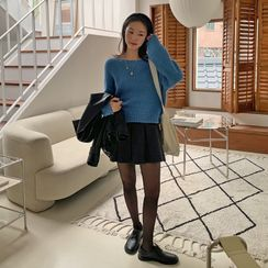 FROMBEGINNING(フロムビギニング) - Drop-Shoulder Wool Blend Knit Top