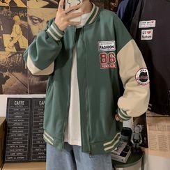 Besto - Lettering Zip-Up Baseball Jacket