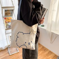 OUCHA - Bear Print Canvas Tote Bag
