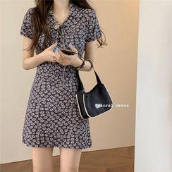 Guromo - Short-Sleeve Floral Print Mini A-Line Dress