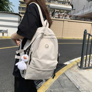 EAVALURE - Smiley Face Applique Nylon Backpack