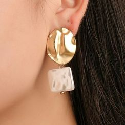 Mulyork - Alloy Disc Square Faux Pearl Dangle Earring