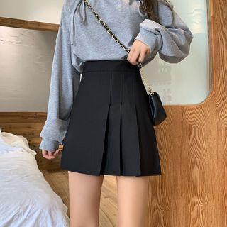 Shinsei - Pleated A-Line Mini Skirt