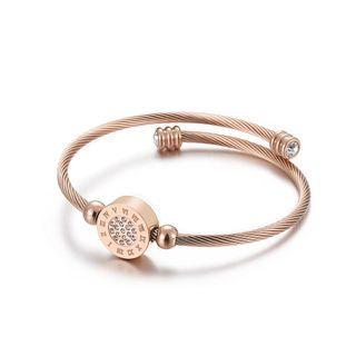 BELEC - Fashion Creative Plated Rose Gold Geometric Round Roman Numerals 316L Stainless Steel Bangle with Cubic Zirconia