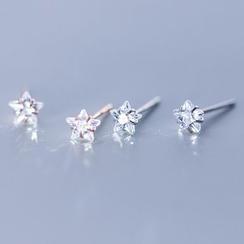A'ROCH - 925 Sterling Silver Rhinestone Star Stud Earrings