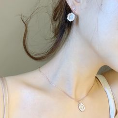 Ticoo - Gemstone Necklace / Drop Earring / Set