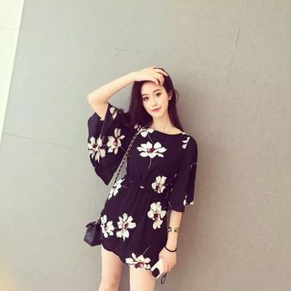 Oaksa - Elbow-Sleeve Tie Waist Floral Dress