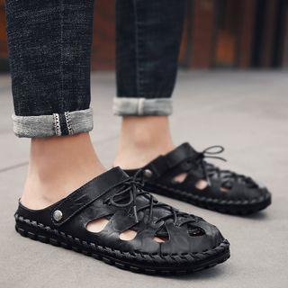 MARTUCCI - Lace-Up Faux-Leather Sandals