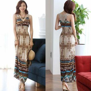 Melekok - Patterned Sleeveless Maxi Sun Dress