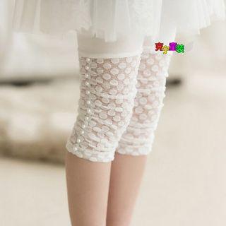 Cuckoo - Kids Faux Pearl Lace Trim Cropped Leggings