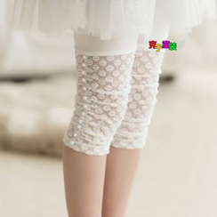 Cuckoo - Kids Faux Pearl Lace Trim Cropped Leggings