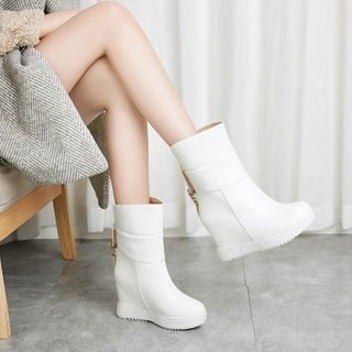 Udin - Faux Leather Hidden Wedge Ankle Boots
