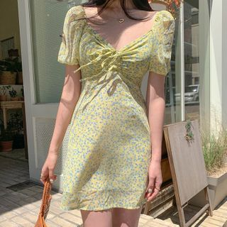 Ashlee - Floral Print Puff-Sleeve Mini A-Line Dress