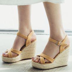 Megan - Platform Wedge Heel Espadrille Sandals