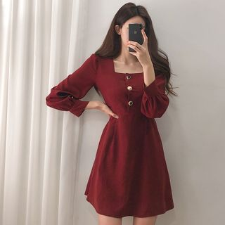Yunhouse - Long-Sleeve A-Line Mini Dress
