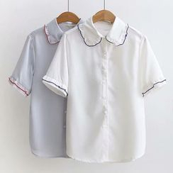 HANIA - 短袖皱摺边衬衫